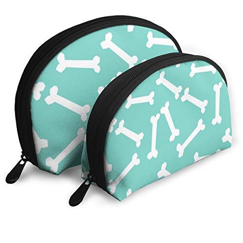 Dog Bone Cute Pet Dog Coordinate Mint Blue Turquoise Cute Dog Bones Fabric Portable Toiletry Bag Makeup Bag Portable Travel Bags Handbag Organizer with Zipper 2Pcs ()