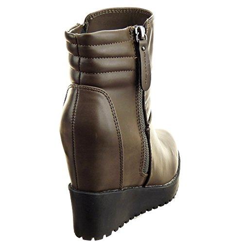 Sopily - damen Mode Schuhe Stiefeletten Plateauschuhe Linien Schuhabsatz Keilabsatz high heel - Khaki