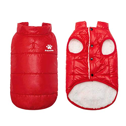 PAWCHIE Dog Winter Clothes for Cats & Small Dogs Soft Down Jackets Windproof Warm Coat for Cats, Puppies in Cold Days, Red (Cat Down Jacket)