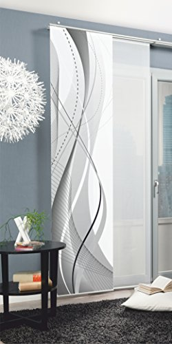 Home fashion 87152-703 Schiebevorhang Digitaldruck Carlisle, Dekostoff Seidenoptik, 245 x 60 cm, grau