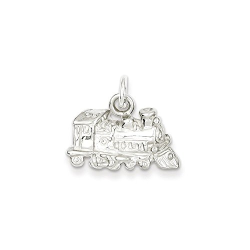 Solid Train Gold 10k (Sterling Silver Train Charm Pendant (0.87 in x 0.47 in))