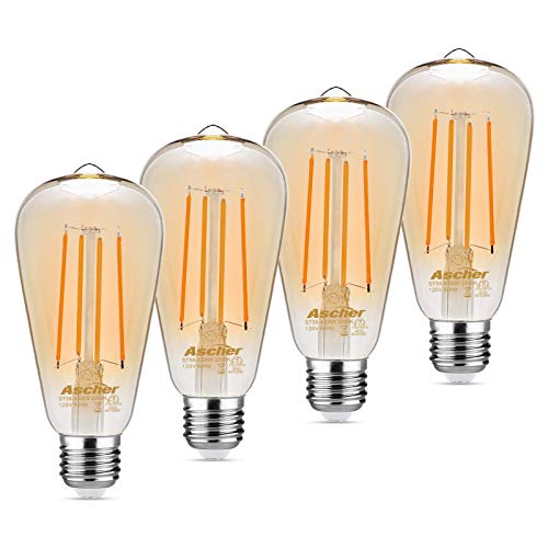 Ascher Vintage LED Edison Bulbs, 6W, Equivalent 60W, 700lm, 2200K Amber Warm White(Amber Gold Glass), ST58 Antique Style Filament Bulbs, E26 Medium Base, Non Dimmable, Pack of 4