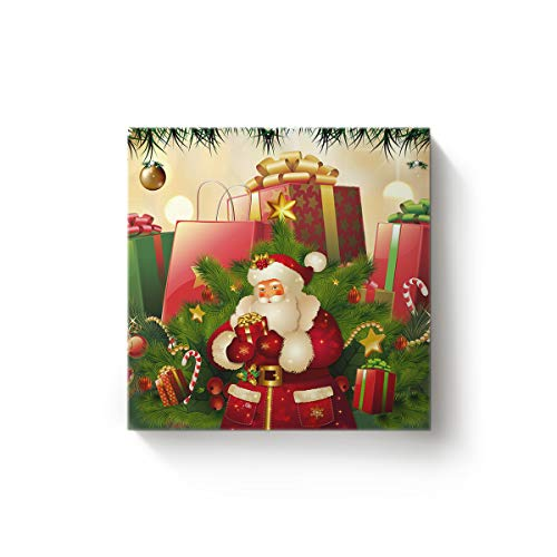 EZON-CHModern Canvas Wall Art Square Artwork Bedroom Living Room Home Office Decoration,SantaClaus Merry Christmas Party Poster Paintings,Stretched by Wooden Frame,Ready to Hang,24x24 Inch