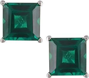 Pendientes de esmeraldas creadas TGW 2 1/3 CT Oro blanco 10k