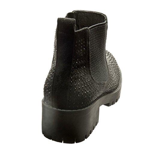 Angkorly - Zapatillas de Moda Botines chelsea boots zapatillas de plataforma mujer strass Talón Tacón ancho 4 CM - Negro