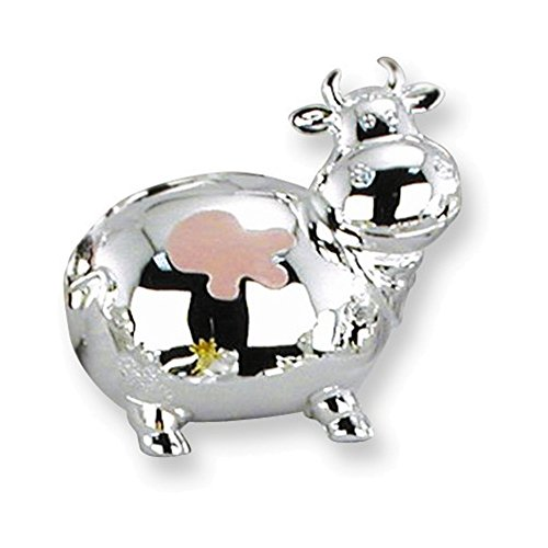 Pink Enameled Mini Cow Silver-plated Polished Metal (Enameled Cow Charm)