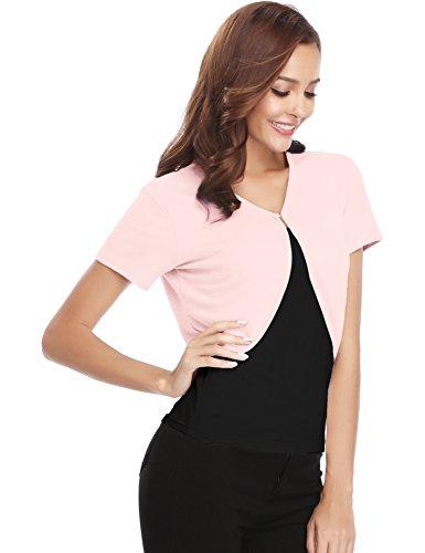 camiseta punto chaqueta elegante Elegante Rosa de manga novia liga con Vestido botones de corto para abierta corta Bolero chaleco mujer 4qxCwRgwA
