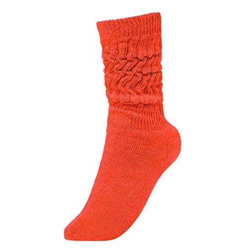 BRUBAKER Womens Or Mens Fitness Workout Slouch Socks Gym Orange EU35-38 / US3-6