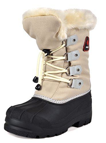 Zip Boot Maple - DREAM PAIRS Big Kid Maple Grey Beige Knee High Winter Snow Boots Size 5 M US Big Kid