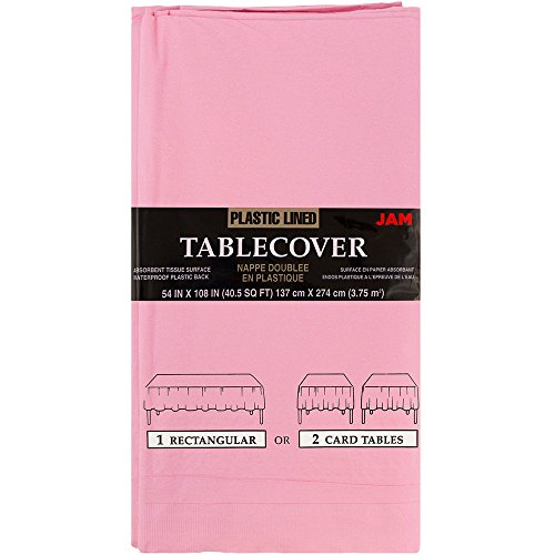 JAM PAPER Rectangular Paper Table Cover with Plastic Lining - 54 x 108 Inches - Baby Pink - 1 Tablecloth/Pack ()