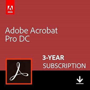 Amazon com: Adobe Acrobat Pro DC 3-YEAR Subscription [PC/Mac Online