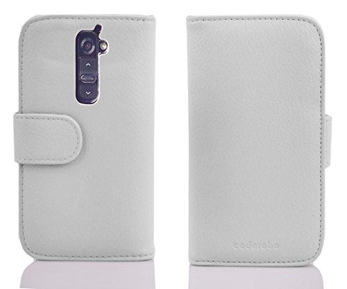 Cadorabo–Book Style Funda para LG G2–Case Cover Carcasa Funda Con Tarjeta de 3compartimentos en Inferno de color rojo BLANCO-MAGNESIO