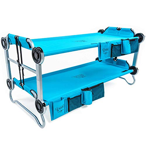 Disc-O-Bed Youth Kid-O-Bunk Benchable Camping Cot with Organizers, Teal - Bunk Camp Beds Metal