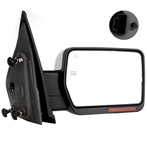 SCITOO Towing Mirror Passenger Side fit Ford Chrome Automotive Exterior Mirrors fit 2004-2014 F-150 with Amber Turn Signal and Puddle Lights Power Controlling Heated and Manual Folding Features