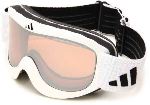 Lst Goggle (adidas Pinner A183-50-6052 Shield Sunglasses,Shiny White Frame/LST Bright Mirror Lens,One Size)
