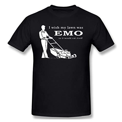 PerfectMeet Men Iwish My Lawn was Emo So It Would Cut Itself Cool T-Shirt Black 6XL with Short Sleeve