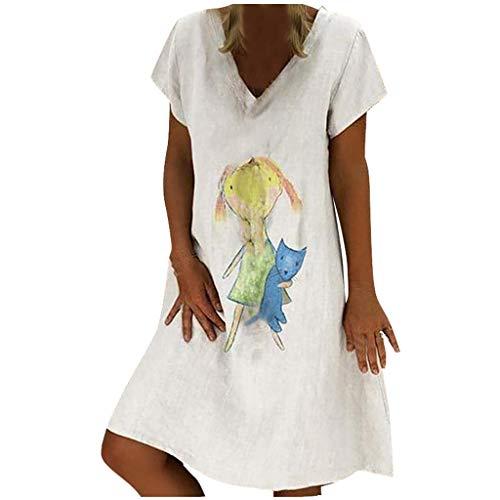 (【HebeTop】 Womens Stylish V-Neck Printed Animal Maxi Dress with Waisted Belt Plus Size White)