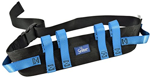 "Secure Transfer and Walking Gait Belt with 6 Caregiver Hand Grips - Patient Ambulation Medical Assist Aid (52""Lx4""W, Blue Handle (Quick Release Buckle))"