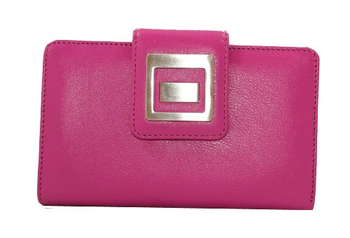 Visconti PR-8 Soft Leather Silver Buckle Snap Close BiFold Wallet in a Blend of Colors (Pink + Purple)