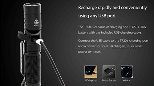 Rofis Tr20 Rechargeable Angle Head Flashlight 1100 Lumen