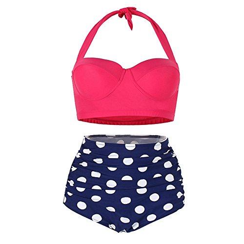 7c77ba0195170 Sexy Panyan Womens Plus Size High Waist Two Pieces Polka Dot Halter Getaway  Tankini Swimwear LB16745 XL