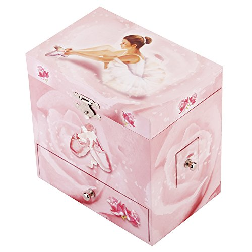 Round Rich Musical Jewelry box - Musical Storage Box a twirling ballerina figurine - Swan lake Tune by Round Rich (Image #1)