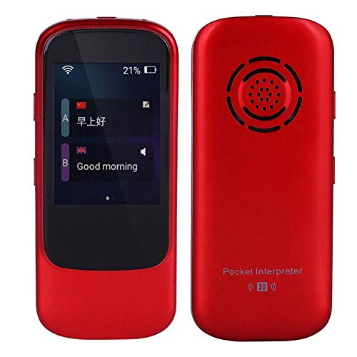 - Yosoo- 2.4 inches Pocket Interpreter Translator, Portable Color Touch Screen Intelligent Real Time WiFi Smart Voice Interactive Communication Partner Multilingual Travel Translator (Red)