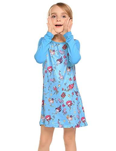 Balasha Toddler Girls Dress Flower Printed Long Sleeve Casual Light Blue Size 3-4