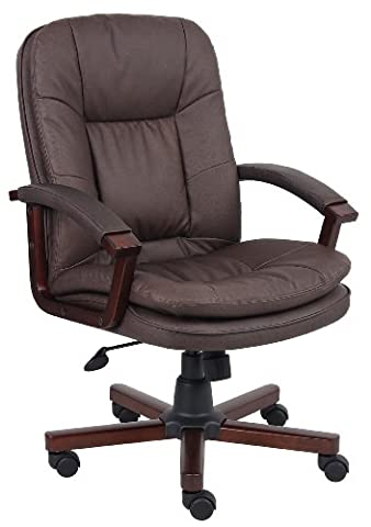 Boss Office Products B796-VSBN Versailles Cherry Wood Executive Chair in Brown - Woods Mesh