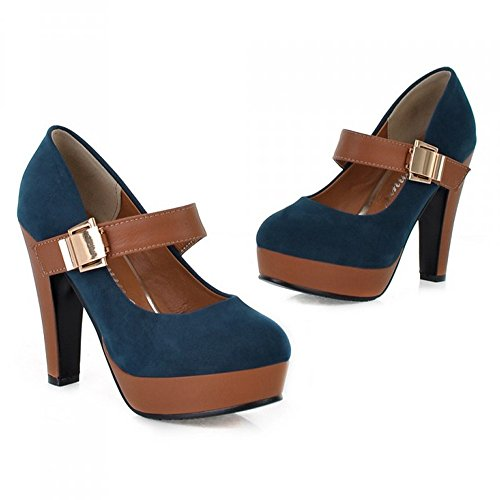 LongFengMa Buckle Pumps Women Lady Heel Platform Blue Shoes Escarpin Quality Fashion High ZxZwqr6