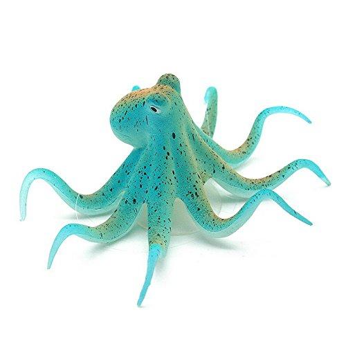Fluorescent Artificial Octopus Aquarium Ornament + Suction Cup Fish Tank Decoration - Blue