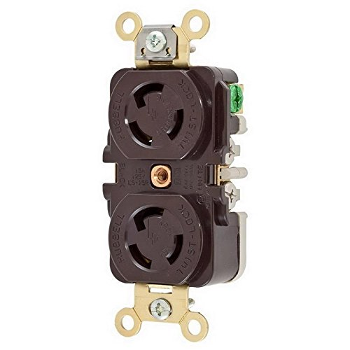 (Hubbell Wiring Systems HBL4700 RTP Duplex Twist-Lock Duplex Receptacle, 15 Ampere, 125V, 2-Pole, 3-Wire Grounding, Brown)