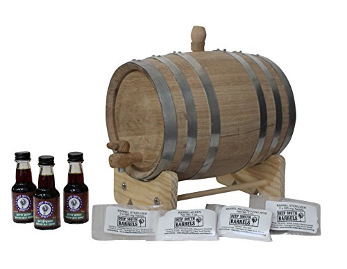 American Scotch Whiskey (3-Liter American White Oak Barrel Unfinished with Bright Steel Bands Scotch Whisky Kit with Cleaning Kit)