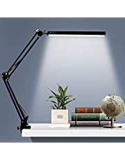 LED Desk Lamp, Metal Swing Arm Lamp with Clamp, Dimmable Eye-Care Table Light, 3 Color Modes 10 Adjustable Brightness Levels & Memory Function for Study Reading, Home, Office, Studios