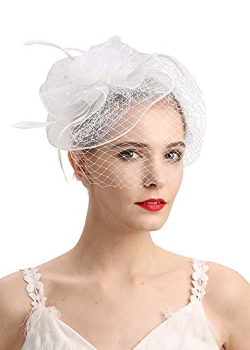 - Fascinators Hats 20s 50s Hat Pillbox Hat Cocktail Tea Party Headwear with Veil for Girls and Women(D-White)