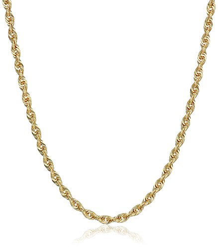 10k Yellow Gold 2.0mm Solid Diamond-Cut Rope Chain Necklace, 20'' by Amazon Collection