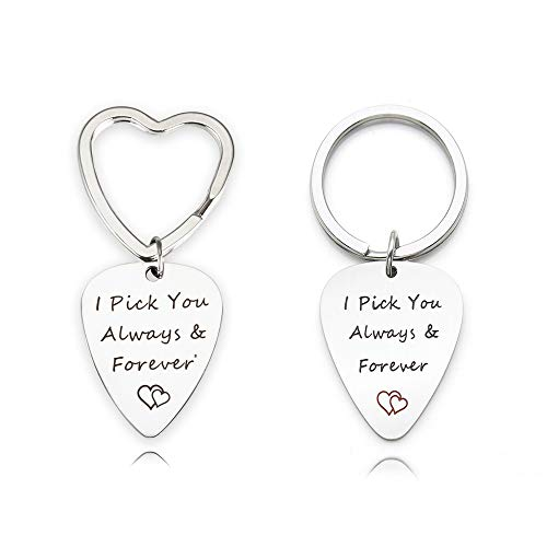 Personalized Guitar Pick Necklace - Personalized Guitar Pick with Key Chain,
