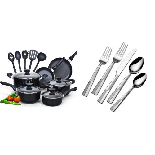 Cook N Home 15 Piece Non stick Black Soft handle Cookware Se