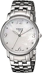 Tissot Women's T052.210.11.117.00 White Mother-Of-Pearl Dial Lady Round Watch