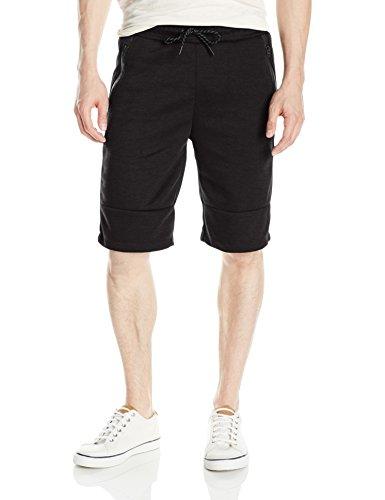 Southpole Men's Tech Fleece Basic Shorts in Solid Colors, Black, Large