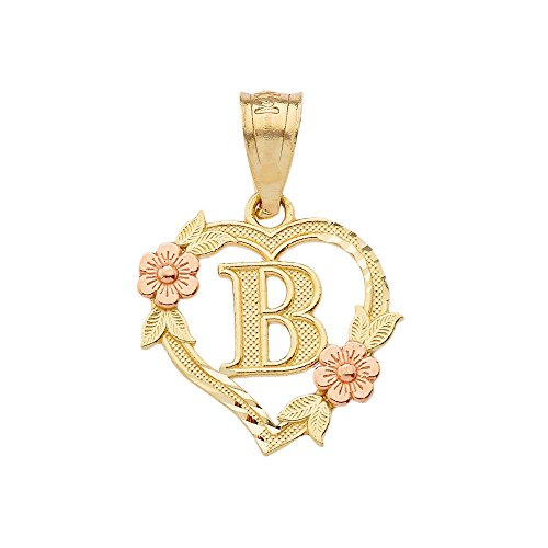 (10k Two-Tone Initial Heart Pendant for Women in Yellow and Rose Gold - Letter B)