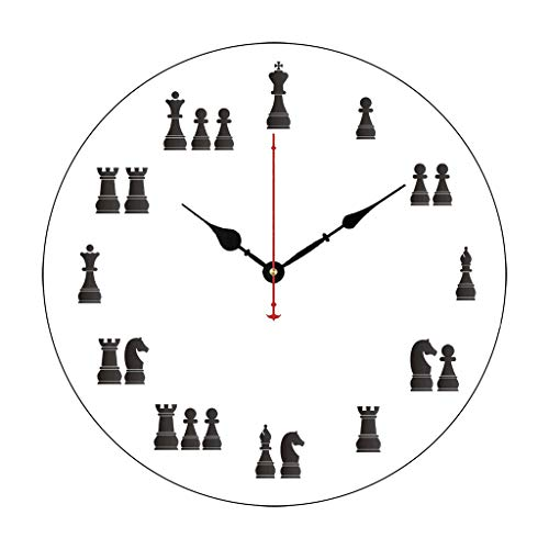 (Modern Wooden Clock for Kids Chess Pieces Non-Ticking Wood Quartz Wall Clock 14 Inch)