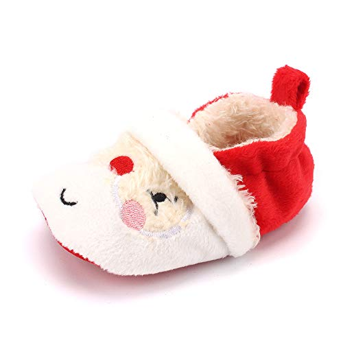 (ESTAMICO Baby Toddler Boys Girls Santa Claus Christmas Slippers Warm Plush Shoes 0-6 Months)