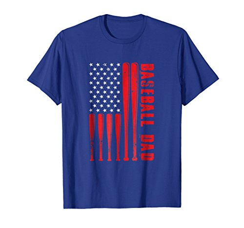 Mens Proud Baseball Dad American Flag Sports T-Shirt XL Royal Blue