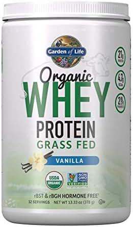Garden of Life Certified Organic Grass Fed Whey Protein Powder - Vanilla, 12 Servings - 21g California Grass Fed Protein plus Probiotics, Non-GMO, Gluten Free, rBST & rBGH Free, Humane Certified