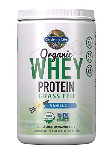 Garden of Life Certified Organic Grass Fed Whey Protein Powder - Vanilla, 12 Servings - 21g California Grass Fed Protein plus Probiotics, Non-GMO, Gluten Free, rBST & rBGH Free, Humane Certified
