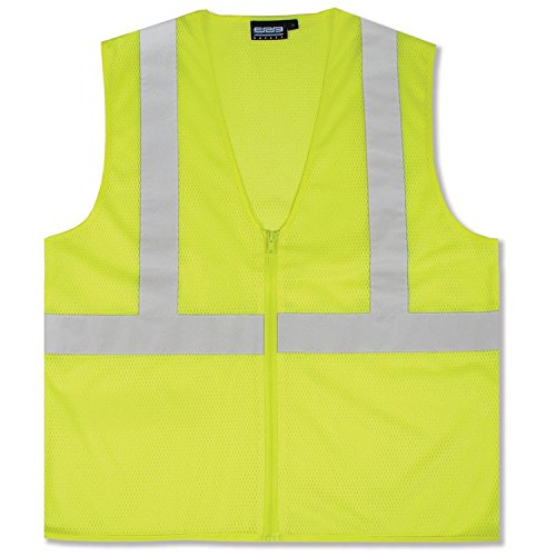 Lightweight Economy Safety Vest - ERB 61445 S363 Class 2 Economy Mesh Safety Vest, Lime, Medium
