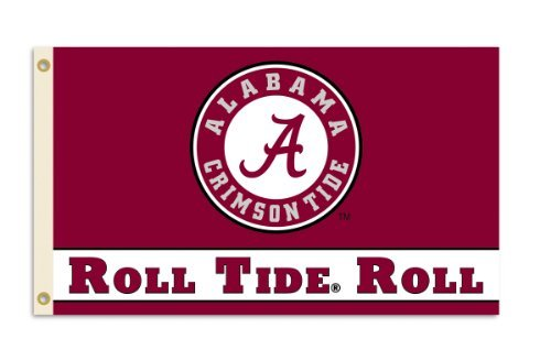 NCAA Alabama Crimson Tide 3-by-5 Foot Roll Tide Flag With Grommets