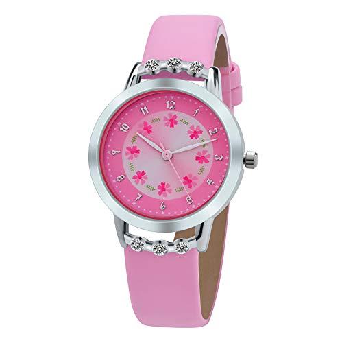 (Girls Watches,Flowers Diamond Wrist Watch PU Leather Band Analog Quartz Cute Waterproof Watches for Kids Girls (Pink) )