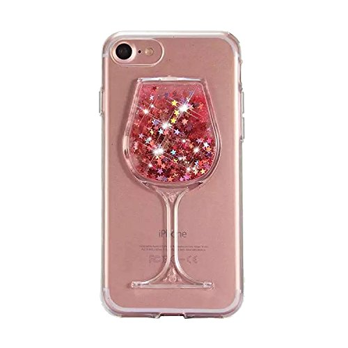 Urberry Iphone 7 Case,Running Glitter Cover, Moving Liquid Wine Glass Design Case for 4.7 inch iPhone 7 with a Screen Protector